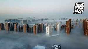 Fog turns skyscrapers into Cloud City from 'Star Wars' [Video]
