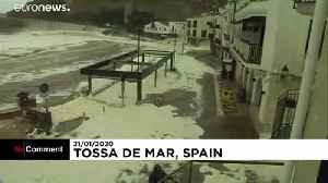 Storm whips up sea foam on Catalan coast [Video]