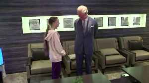 Climate activist and Prince Charles greet in Davos [Video]