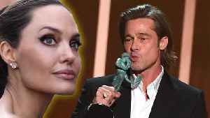 Angelina Jolie Reacts To Brad Pitt & Jennifer Aniston Reunion At SAG Awards [Video]