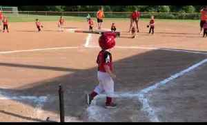 Kid gets Hit in the Head with Bat while Playing Tee-Ball [Video]
