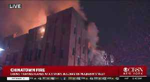 News video: Crews Fighting Flames At 5-Story Building In Chinatown