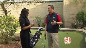 Susan Casper gets golf tips from a pro [Video]