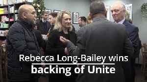 Rebecca Long-Bailey wins backing of Unite in Labour leadership race