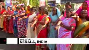 Up to seven million people form 620km human chain to protest India citizenship law [Video]