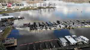 Aerial footage shows damage from Jackson County boat dock fire [Video]