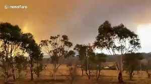 Smoke-filled skyline after fire rages through landscape near Canberra [Video]