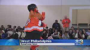 Gritty, Flyers Donate Defibrillator Device To West Philadelphia School [Video]