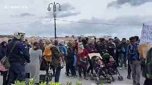 Refugee father gives chilling plea after children tear gassed in clashes on Greek island [Video]