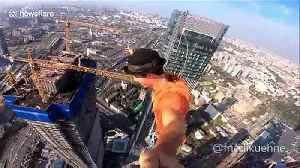 Brave slackliner films selfie video while balancing on 350m highline above Moscow [Video]