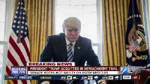 President Trump acquitted in impeachment trial [Video]
