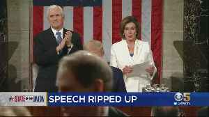 Pelosi Rips Up President's Speech After State Of The Union Address [Video]
