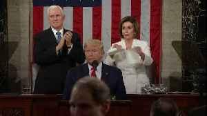 News video: Pelosi Rips Up Trump's Speech