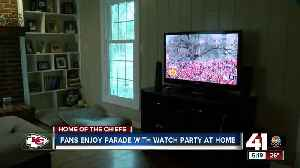Chiefs fans watch parade at home [Video]