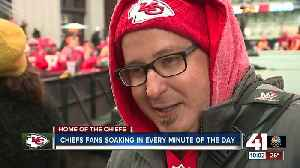 Chiefs fans keep the celebration going [Video]