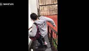 The effects of leg day! Mexican woman with sore legs slides down stairs [Video]