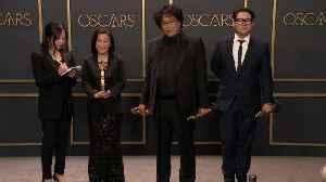 'Parasite' Creators Celebrate Their Historic Oscar Wins Backstage [Video]