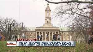 The battle over rules handing sexual misconduct cases on college campuses. [Video]