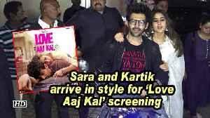 Sara Ali Khan and Kartik Aaryan arrive in style for 'Love Aaj Kal' screening [Video]
