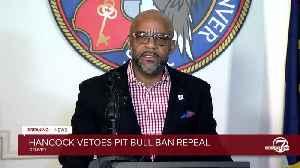 News conference: Mayor Michael Hancock vetoes pit bull ban repeal [Video]