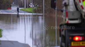 News video: Motorists & pedestrians risk floods in West Yorkshire after Storm Dennis closes a road.
