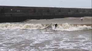 News video: Surfers near Brighton on England's south coast catch some huge waves during Storm Dennis