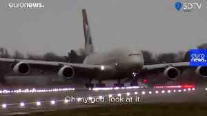 Watch: Pilot lands 394-ton A380 sideways as Storm Dennis rages [Video]