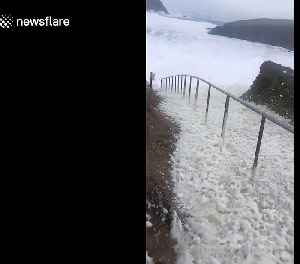 Storm Dennis whips up sea foam on Irish coast [Video]