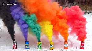 Ukrainian scientist creates colourful display of smoke from soda cans [Video]