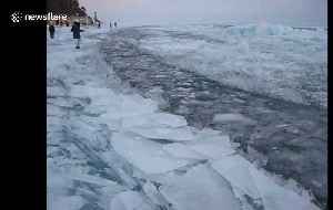 Thick shards of ice form as Lake Baikal in Russia freezes over [Video]