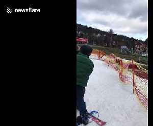 First time skier in Czechia tries to stop but hilariously runs into orange tape [Video]