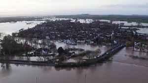 Drone footage shows UK town surrounded by flood water [Video]