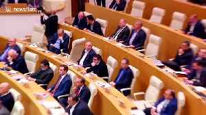 Soviet Union anthem played as Georgian politician gives speech at parliament [Video]