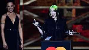 News video: Billie Eilish breaks down during BRIT Awards acceptance speech