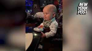 Baby left in complete awe of hibachi grill fire [Video]