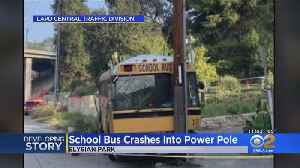 Bus With Children Inside Crashes Into Power Pole, Knocks Down Lines [Video]