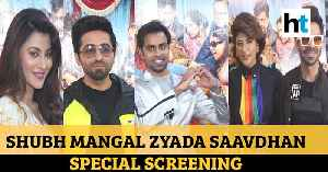 Ayushmann Khurrana, wife Tahira at Shubh Mangal Zyada Saavdhan special screening [Video]