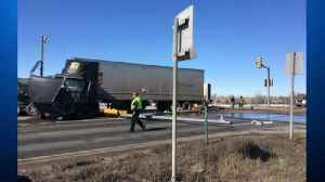 2 Semis Collide On Highway 85 [Video]