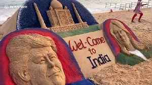 Sand artist makes welcome sculpture of the Trumps for their visit to India [Video]