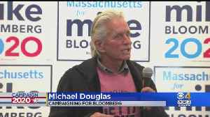 Actor Michael Douglas Campaigns For Bloomberg In Quincy [Video]