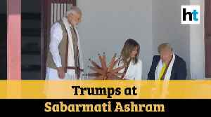 Trump in India: US President, First Lady visit Sabarmati Ashram, spin charkha [Video]