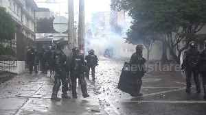 News video: Riot police clash with masked protesters in Bogota