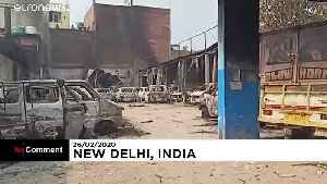 Cars burned as Muslim-Hindu violence leaves 20 dead in New Delhi [Video]