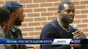 Michael Vick vists Alcorn State [Video]