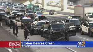 Driver Of Stolen Hearse Leads Police On Chase Before Crashing On South LA Freeway; Casket, Body Found Inside [Video]