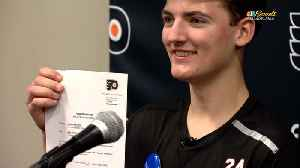 Blake Steigauf signs one-day contract with Flyers and reads starting lineup [Video]