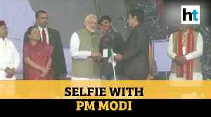 Watch: Youth clicks selfie with PM Modi on stage in Prayagraj [Video]