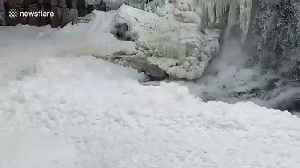 Huge build up of foam on the Big Sioux river in South Dakota [Video]