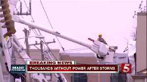 Nashville Electric Service linemen worked through the night to begin restoring power to thousands in Davidson County after a tor [Video]