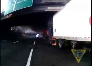 Troopers pull man from fiery truck seconds before it explodes [Video]